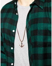 Icon Brand - Brown Anchor Necklace for Men - Lyst
