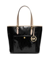 MICHAEL Michael Kors | Black Metallic Mirror Monogram Tote | Lyst