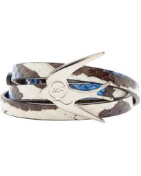 McQ | Black And Blue Snakeskin Swallow Charm Bracelet | Lyst