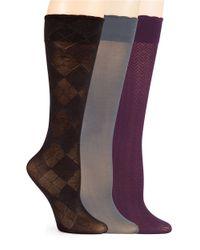 Ellen Tracy   Black Three Pack Trouser Socks   Lyst