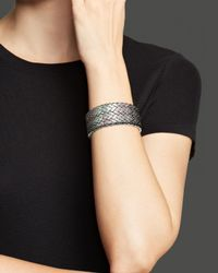 Roberto Coin - Metallic Ruthenium Plated Sterling Silver Woven Cuff - Lyst