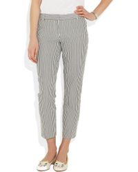J.crew Café Striped Seersucker Capri Pants in Blue | Lyst