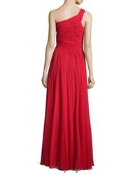 Halston - Red One-Shoulder Ruched Gown - Lyst