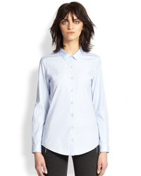 The Kooples - Blue Stretch Cotton Poplin Shirt - Lyst