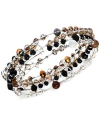 Jones New York | Black Silver-tone Neutral Bead And Brown Agate Stretch Bracelet | Lyst