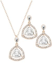 Swarovski - Metallic Rose Gold-plated Crystal Orbital Necklace And Earrings Set - Lyst