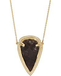 Pamela Love - Black Jasper White Diamond Gold Arrowhead Pendant Necklace - Lyst