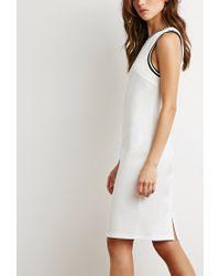 Forever 21 | Natural Varsity Stripe-trimmed Dress | Lyst