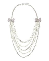 R.j. Graziano | Pink Tiered Crystal Bow Necklace | Lyst