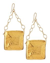 Devon Leigh - Metallic Gold-dipped Square Medallion Earrings - Lyst