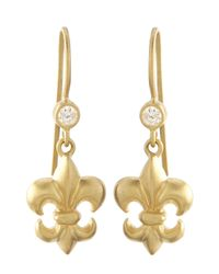 Slane | Metallic 18K Gold Fleur De Lis Earrings W/ Diamonds | Lyst