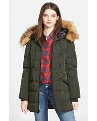 Guess | Green Quilted Parka With Removable Faux Fur Trim | Lyst