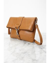 Forever 21 - Brown Faux Leather Foldover Crossbody - Lyst