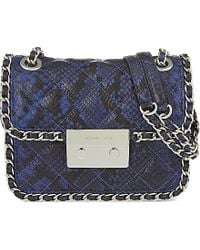 MICHAEL Michael Kors | Blue Carine Medium Snale-effect Leather Shoulder Bag | Lyst