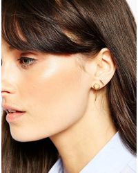 ASOS | Metallic Gold Plated Sterling Silver Mixed Shapes Ear Stud And Cuff Pack | Lyst