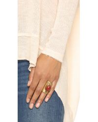 Tory Burch - Metallic Stone Statement Ring - Oxidized Gold/red Jasper - Lyst