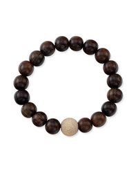 Anne Sisteron - Black Wood Stretch Bracelet With Laser Cut Ball - Lyst