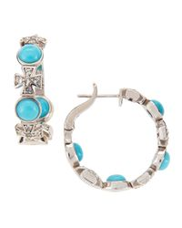 Elizabeth Showers - Blue Turquoise & Sapphire Maltese Hoop Earrings - Lyst