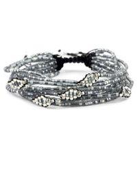 Chan Luu | Metallic Grey Mix Multi Strand Beaded Cluster Bracelet | Lyst