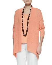 Eileen Fisher - Orange Melange Linen-blend Cardigan - Lyst
