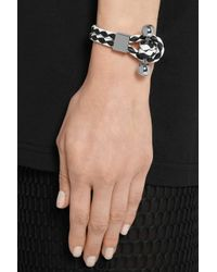 Givenchy - Shark Tooth Piercing Bracelet in Black and White Leather - Lyst