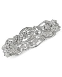 2028 | Metallic Silver-tone Crystal Leaf Stretch Bracelet | Lyst