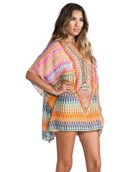 Camilla - Short Lace Up Kaftan in Pink - Lyst