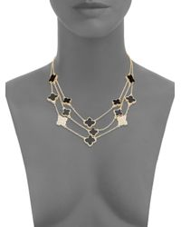 Saks Fifth Avenue - Black Three-row Quatrefoil Necklace - Lyst