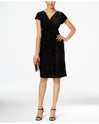 Alex Evenings | Black Petite Cap-sleeve Velvet Sheath Dress | Lyst