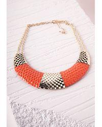 Missguided | Colour Block Bib Necklace Orange | Lyst