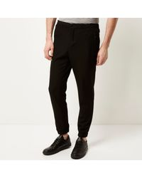 River Island - Black Smart Jogger Trousers for Men - Lyst