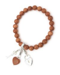 Charmology | Orange Key To Wealth Goldstone Charm Bracelet | Lyst