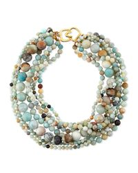 Kenneth Jay Lane | Green Multi-strand Amazonite Bead Necklace | Lyst