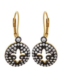 Freida Rothman - Metallic Open Fleur-de-lis Round Pave Earrings - Lyst