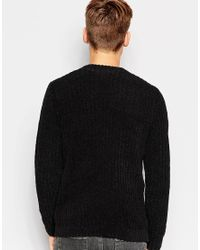 ASOS | Black Chenille Ribbed Jumper for Men | Lyst