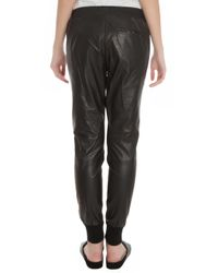 Vince - Black Leather Jogging Trousers - Lyst