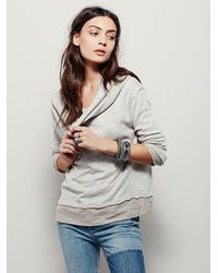 Free People | Gray Shoulder Hugs Long Sleeve Pullover | Lyst