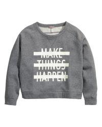 H&M - Gray + Sweatshirt - Lyst