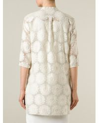 Ermanno Scervino - Natural Floral Embroidered Shirt - Lyst