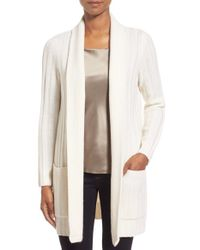 Nordstrom Collection - White Ribbed Wool & Cashmere Cardigan - Lyst