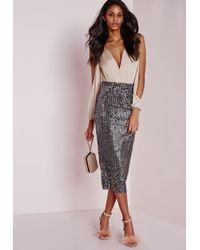 Missguided | Gray Longline Velvet Sequin Midi Skirt Grey | Lyst