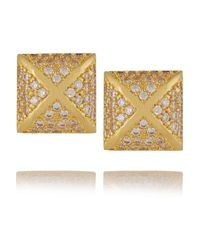 Kenneth Jay Lane | Metallic Gold-tone Crystal Earrings | Lyst