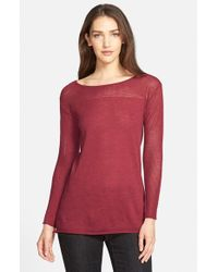 Eileen Fisher | Red Mesh Detail Bateau Neck Wool Tunic Sweater | Lyst