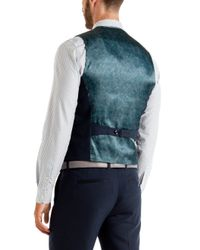 Ted Baker | Blue Baywai Birdseye Waistcoat for Men | Lyst
