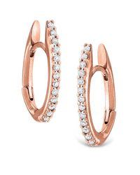 KC Designs | Pink 14k Gold And Diamond Oval Shape Hoop Earrings | Lyst