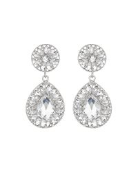 Mikey | White Dual Crystal Stone Oval Drop Earring | Lyst