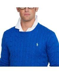 Polo Ralph Lauren - Blue Cable-knit Cotton Sweater for Men - Lyst