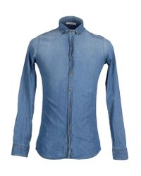 Aglini - Blue Denim Shirt for Men - Lyst