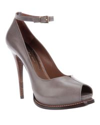 Barbara Bui - Gray Peep Toe Pump - Lyst