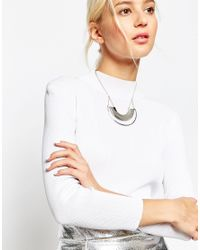 ASOS | Metallic Double Half Circle Pendant Necklace | Lyst